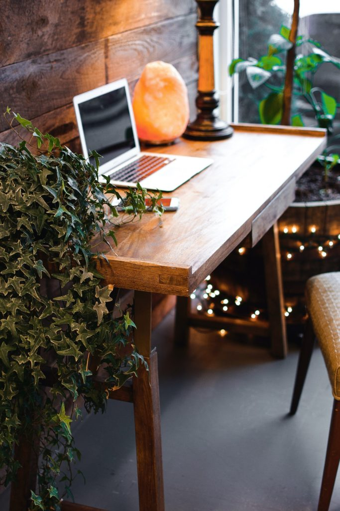 wood wall, laptop, working from home, home office
